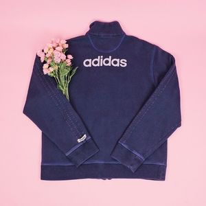Vintage Adidas Y2K Navy Blue Zip Up Sweatshirt